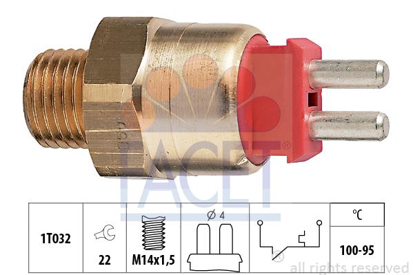 Interrupteur de temperature, ventilateur de radiateur FACET 7.5169 (X1)