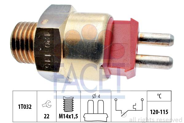 Interrupteur de temperature, ventilateur de radiateur FACET 7.5231 (X1)