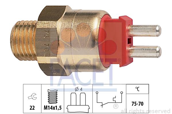 Interrupteur de temperature, ventilateur de radiateur FACET 7.5286 (X1)
