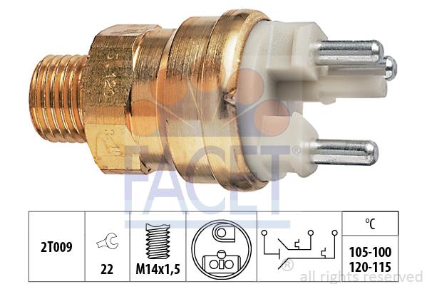 Interrupteur de temperature, ventilateur de radiateur FACET 7.5659 (X1)