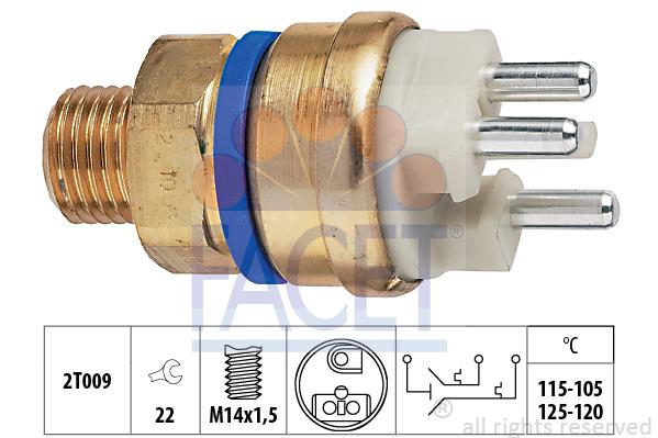 Interrupteur de temperature, ventilateur de radiateur FACET 7.5678 (X1)