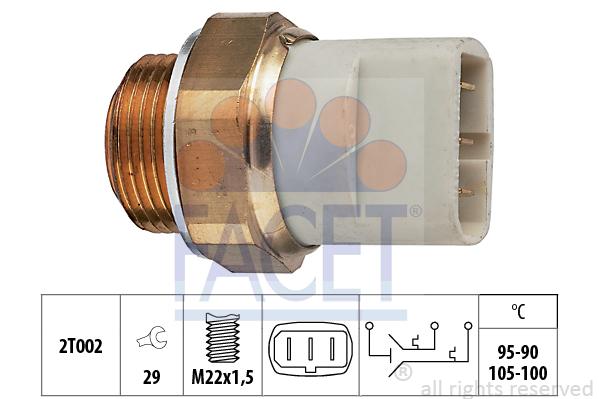 Interrupteur de temperature, ventilateur de radiateur FACET 7.5697 (X1)