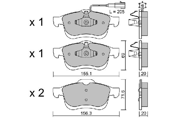 Plaquettes de frein avant AISIN BPFI-1027 (X1)