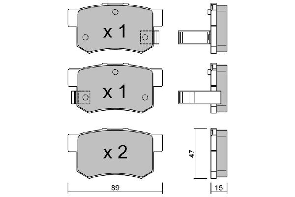 Plaquettes de frein arriere AISIN BPHO-2000 (X1)