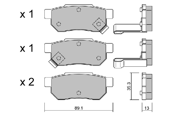 Plaquettes de frein arriere AISIN BPHO-2901 (X1)