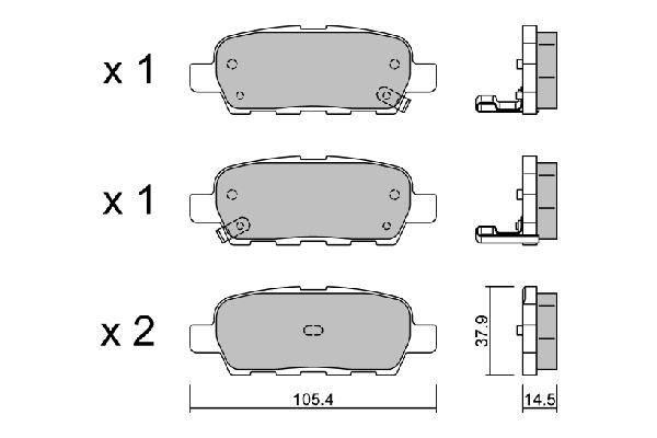 Plaquettes de frein arriere AISIN BPNI-2001 (X1)