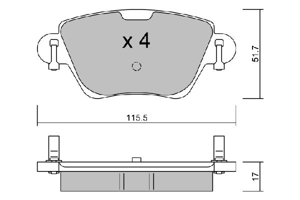 Plaquettes de frein arriere AISIN BPPE-2007 (X1)