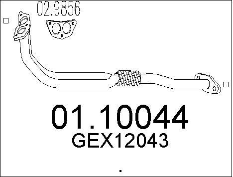 Tube d'echappement MTS 01.10044 (X1)
