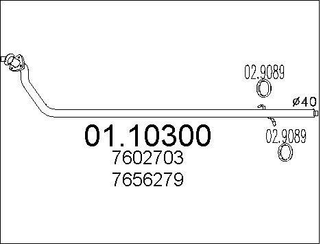 Tube d'echappement MTS 01.10300 (X1)