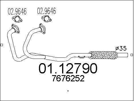 Tube d'echappement MTS 01.12790 (X1)