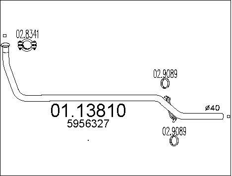 Tube d'echappement MTS 01.13810 (X1)