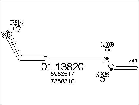 Tube d'echappement MTS 01.13820 (X1)