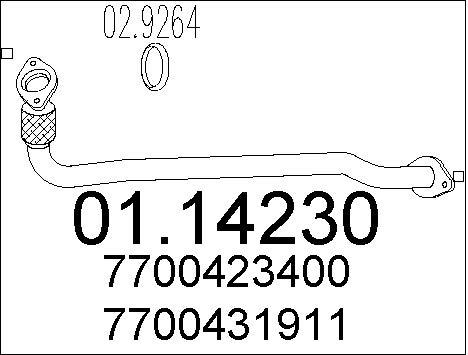 Tube d'echappement MTS 01.14230 (X1)