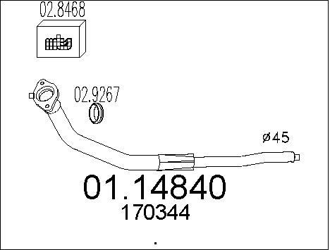 Tube d'echappement MTS 01.14840 (X1)