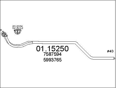 Tube d'echappement MTS 01.15250 (X1)