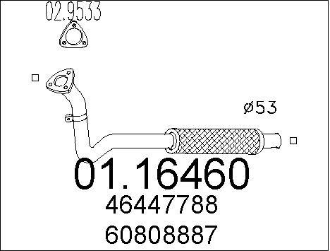 Tube d'echappement MTS 01.16460 (X1)
