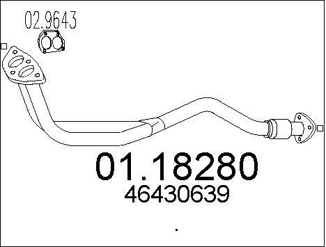 Tube d'echappement MTS 01.18280 (X1)