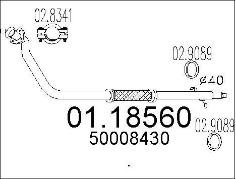 Tube d'echappement MTS 01.18560 (X1)