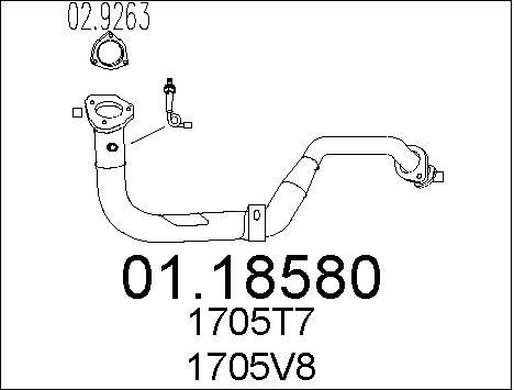 Tube d'echappement MTS 01.18580 (X1)