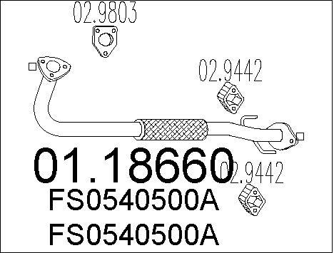 Tube d'echappement MTS 01.18660 (X1)