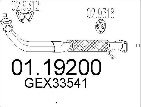 Tube d'echappement MTS 01.19200 (X1)