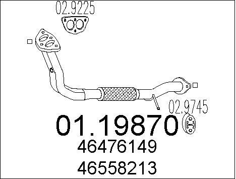 Tube d'echappement MTS 01.19870 (X1)
