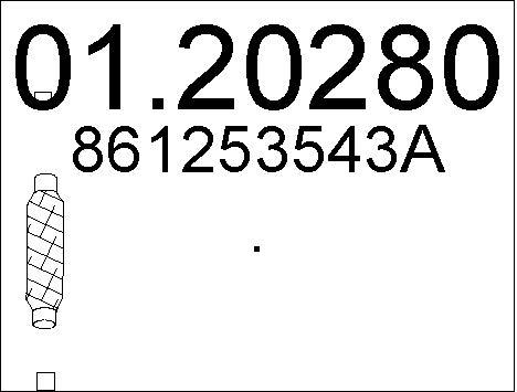 Tuyau flexible, échappement MTS 01.20280 (X1)