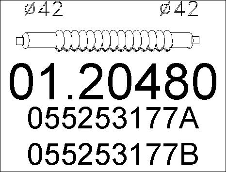 Tuyau flexible, échappement MTS 01.20480 (X1)