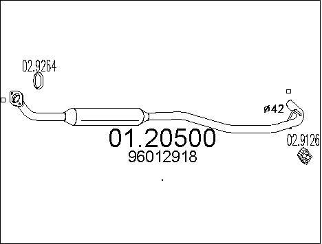 Tube d'echappement MTS 01.20500 (X1)