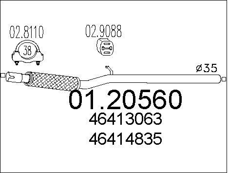 Tube d'echappement MTS 01.20560 (X1)