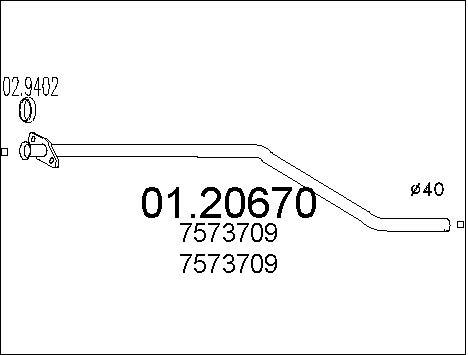 Tube d'echappement MTS 01.20670 (X1)