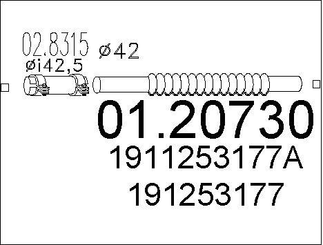 Tuyau flexible, échappement MTS 01.20730 (X1)