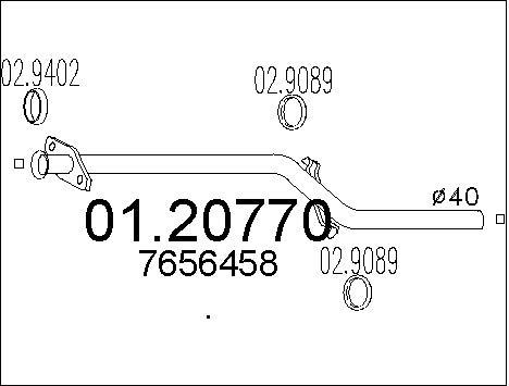 Tube d'echappement MTS 01.20770 (X1)