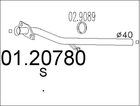 Tube d'echappement MTS 01.20780 (X1)