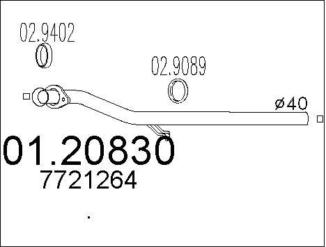 Tube d'echappement MTS 01.20830 (X1)