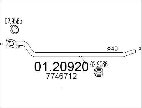 Tube d'echappement MTS 01.20920 (X1)