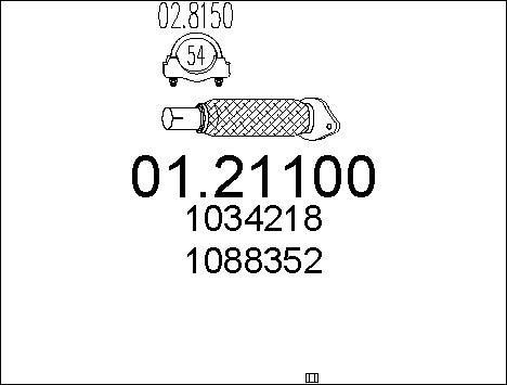 Tube d'echappement MTS 01.21100 (X1)