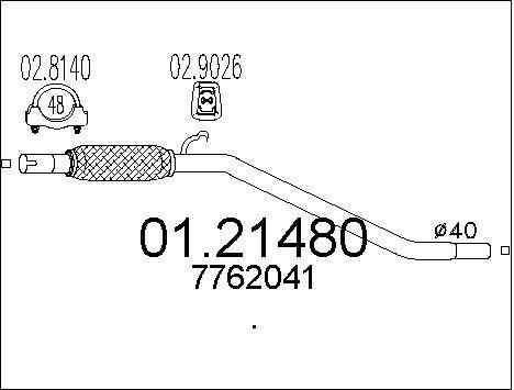 Tube d'echappement MTS 01.21480 (X1)