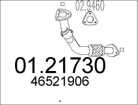 Tube d'echappement MTS 01.21730 (X1)