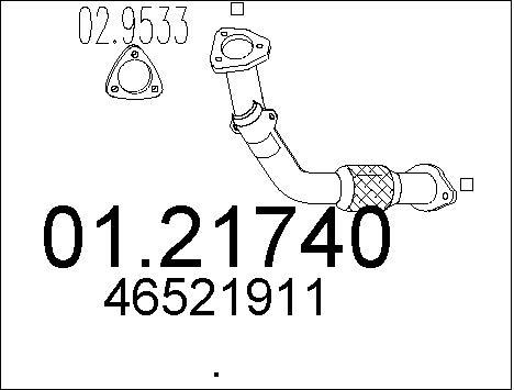 Tube d'echappement MTS 01.21740 (X1)