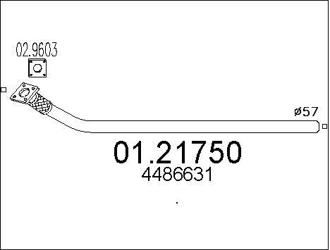Tube d'echappement MTS 01.21750 (X1)