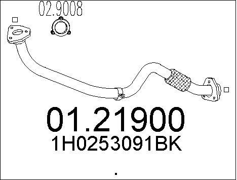 Tube d'echappement MTS 01.21900 (X1)