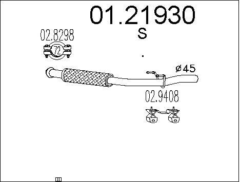 Tube d'echappement MTS 01.21930 (X1)