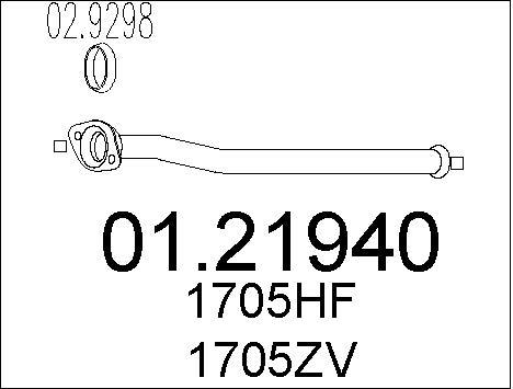 Tube d'echappement MTS 01.21940 (X1)