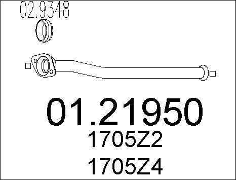 Tube d'echappement MTS 01.21950 (X1)
