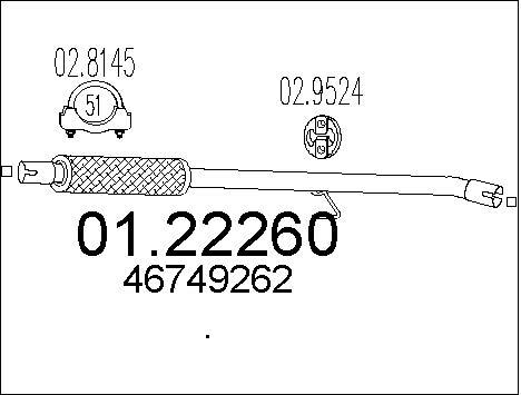 Tube d'echappement MTS 01.22260 (X1)