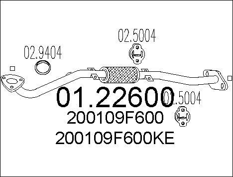 Tube d'echappement MTS 01.22600 (X1)