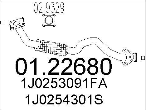 Tube d'echappement MTS 01.22680 (X1)