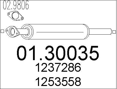 Silencieux avant MTS 01.30035 (X1)