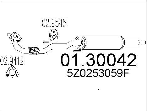 Silencieux avant MTS 01.30042 (X1)